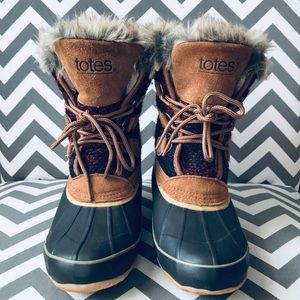 TOTES | Ankle Duck Boots with Fur